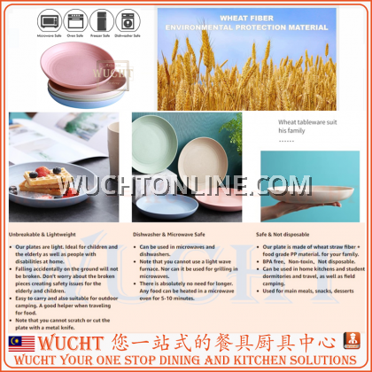 """【 WUCHT】6 pcs x 15cm Lightweight Colorful Plate Wheat Straw Plate 15cm 4 pcs Unbreakable Dishes and Plates Set  小麦秸秆盘 6"""""""