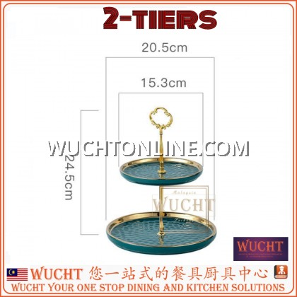 【WUCHT】Porcelain 2 Tier Cupcake Stand Holder Dessert Stand Cake Display stand towers Pastry Serving Tray Platter for Tea Party, Wedding and Birthday-Green Gold White Gold