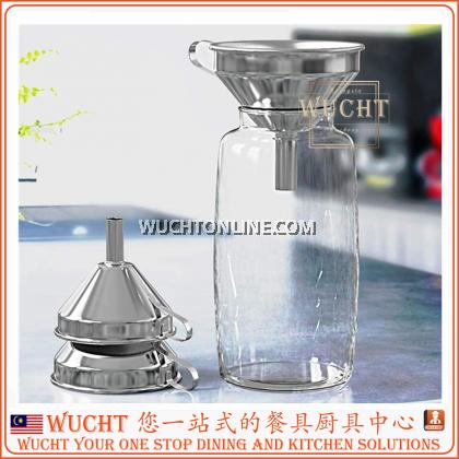 【WUCHT】SUS304 Liquid Funnel with Detachable Strainer 13cm / 15cm for Kitchen Transfer Liquid Filter Essential Cook Oils Fluid Spice Dry Ingredients Powder, Food Grade Dishwash Safe Durable