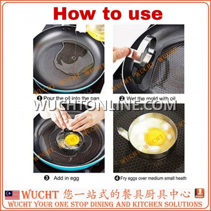 【WUCHT】Stainless Steel Egg Ring with Handle Egg Bunjo Egg Moulds Molds for Cooking Fried Eggs, Pancake Rings, Beefsteak