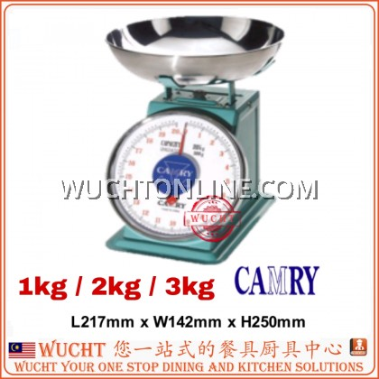 【WUCHT】CAMRY SCALE 1kg / 2kg / 3kg Mechanical Kitchen Scale With Stainless Steel Plate Timbang 秤 磅 1kg 2kg 3kg