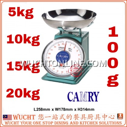 【WUCHT】CAMRY SCALE 5kg / 10kg / 15kg / 20kg Mechanical Kitchen Scale With Stainless Steel Flat Top Timbang 秤 磅 5kg 10kg 15kg 20kg